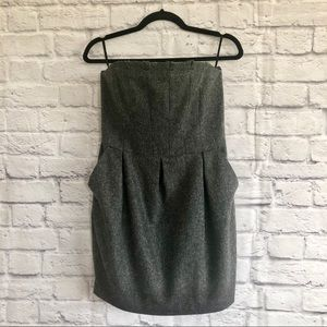 7 For All Mankind Gray Wool Strapless Mini Dress